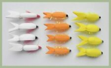 Floating Fry Fishing Flies, 12 Pack, 3 colours, size 10 White, Yellow, Orange