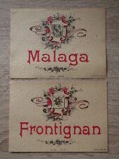 2x ETIQUETTE ANCIENNE CHROMO ALCOOL / Frontignan + Malaga Litho Douin & Jouneau