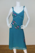 Betsey Johnson Vtg Sz 8 Teal Mesh Floral Embroidered Velvet Bias Dress