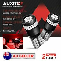 2x AUXITO CANBUS T10 Red LED License Plate Side Marker Wedge Light Bulb Globes D