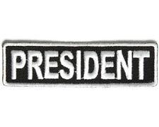 "PRESIDENT 3.5"" x 1"" iron on patch (3708) Biker Club Rank Title"