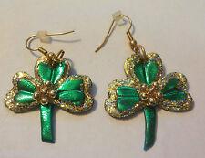 Vintage Glittery & Metallic Green W/ Gold Tone Center Clover French Hook Earring