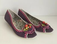 IRREGULAR CHOICE Low Kitten Heel Purple Suede Leather ~41 UK 7.5~ Peep Toe FRUIT