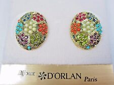 Swarovski Crystals and Sandstones 0819 D'Orlan Gold Plated Pierced Earring with