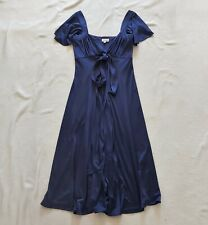 Temperley London NEW knee length silk jersey dress with waist tie Navy UK 8 US 4