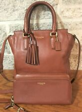 COACH MINI TANNER LEGACY BROWN LEATHER 48894 HANDBAG TOTE BAG PURSE WITH WALLET
