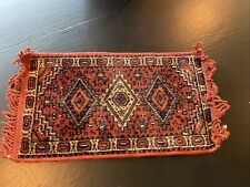 Vintage doll house miniature Oriental rug  thick pile 6.5X12 WITH FRINGE
