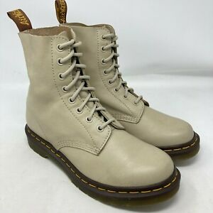 Dr Martens 1460 Pascal Virginia Taupe soft Leather ankle 8 eye Boots UK 6 EU 39