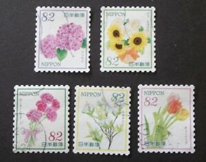JAPAN USED 2017 SPRING FLOWERS 82 YEN 5 VALUE VF COMPLETE SET SC# 4092 a - e