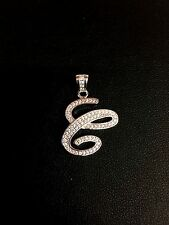 "NEW!! 925 Sterling Silver CZ Letter Initial ""c"" Pendant Necklace"