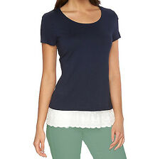 New Women's AB Studio Scalloped Lace-Trim Mock-Layer Tee Navy Size XL MSRP $40