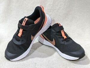 Nike Revolution 5 (PSV) Dark Grey/Red Bronze Girl's Running Shoes-Asst Sizes NWB