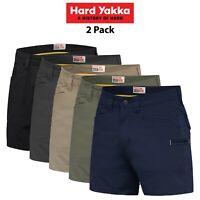 Mens Hard Yakka 3056 Short Shorts 2 PACK Ripstop Tradie Utility Stretch Y05115