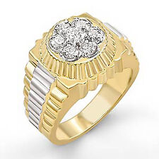 F Vs2 Ring 14K Two Tone Gold 1.00 Ct Men's Cluster Round Natural Diamond