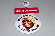 Aunt Jemima Syrup-Pancakes Breakfast Club foldover lapel tab pin 1950-60s Era