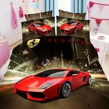Red Sport Cars Single Size Bed Quilt Doona Duvet Cover Set Bed Pillow Case