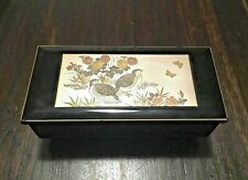 Wooden Music Jewelry Trinket Box with Engraved Metal Birds Floral