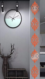 """NEW 10 Pc 5"""" ea Red Mirrored Surface Scroll Damask Wall Decor Acrylic Stickers"""