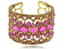 1pc Flirty Bright Wristband Fuchsia Rhinestone Statement Bracelet Bangle Cuff