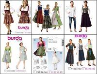 BURDA SEWING PATTERN DIRNDL APRON DRESS, BLOUSE, GERMAN FOLKWEAR COSTUME U-PICK