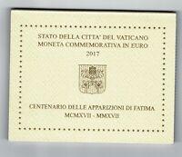 Set Cartera oficial Vaticano 2017 100 Aniversario Fatima  monedas 2 euros coins