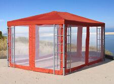 4 Seitenteile mit Moskitonetz zu  Aluoptik Pavillon 3x4m Terrakotta NEU & OVP