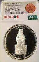 1993 MEXICO SILVER MEDAL XOCHIPILLI NGC PF 68 ULTRA CAMEO TOP POP FINEST KNOWN !