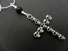 A LOVELY TIBETAN SILVER SKULL CROSS NECKLACE. GOTH. NEW.