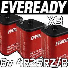 3x EVEREADY 4R25RZ/B 6v PJ996 Torch Lantern Battery 6 Volt 908 996 430 Batteries