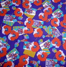 Craft Fabric Gambling Dice Cards Chess Pansy Flower Purple Multi 44 X 65