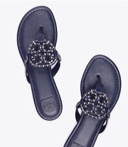 Tory Burch NEW Miller Navy Leather Embellished Logo Sandals Sizes US 6  6.5