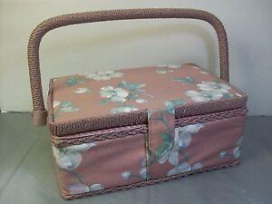 Cloth Sewing Basket Storage Box Organizer Pink with White Flowers Wicker Trim
