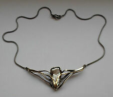 Danish 2000's Christel Kaaber 18k Gold & Silver 925 Hand Made Necklace w Pearl