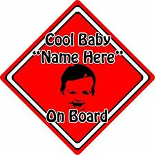 Personalised Cool Baby/Child On Board Car Sign ~ Baby Face Silhouette ~ Red