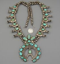 1930's Navajo OLD PAWN Natural GREEN TURQUOISE Vintage SQUASH BLOSSOM NECKLACE