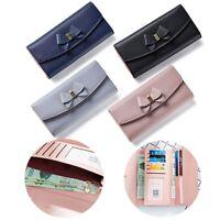 Fashion Women's Lady Leather Bowknot Clutch Wallet Long Card Purse Handbag Case