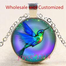 Vintage hummingbird Cabochon Tibetan silver Glass Chain Pendant Necklace #4678