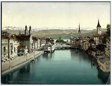 Zürich vom obern Mühlesteg. PZ vintage photochromie, photochromie, vintage pho