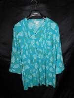 Coldwater Creek 2X Blue Pink Green Floral Blouse 3/4 Sleeve Shirt Pintuck V Neck