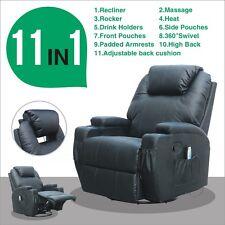 New Massage Recliner Black Sofa Lounge Ergonomic Swivel Chair Heated W/Control