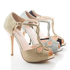 Open Toe Medium (B, M) Width Synthetic Heels Women's Size 11