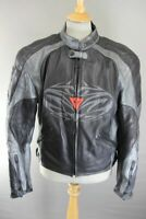 DAINESE ITALIAN MADE BLACK & SILVER LEATHER BIKER JACKET WITH CE ARMOUR 42 INCH