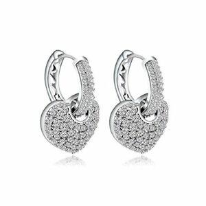 Crystals  Swarovski Heart in Hoop 18k Platinum Plated Two Way Crystal Earring