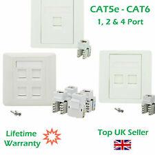 More details for 1, 2 & 4 port cat5e cat6 network wall socket rj45 lan faceplate single gang