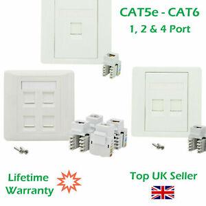 1, 2 & 4 Port CAT5E CAT6 Network Wall Socket RJ45 LAN Faceplate Single Gang