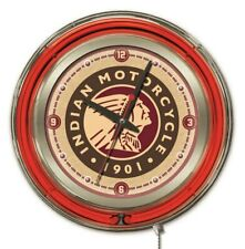 "Indian Motorcycle ""Head"" Clock w/ Double Neon Ring"
