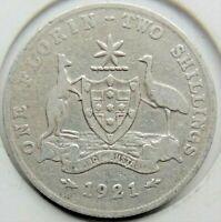 1921 AUSTRALIA George V, silver  Florin, Grading About FINE.