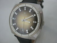 NOS NEW SWISS MADE BIG AUTOMATIC MEN'S REVUE ANALOG WATCH WITH DATE 1960'S