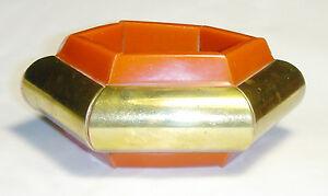 Mid Century CHUNKY Vintage ORANGE LUCITE/Resin BRASS STRETCH MODERNIST BRACELET
