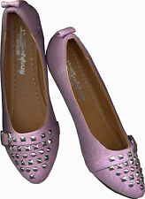 NWOB RICHLY TEXTURED CANVASS PALE LILAC FLAT SHOES_S40 /39